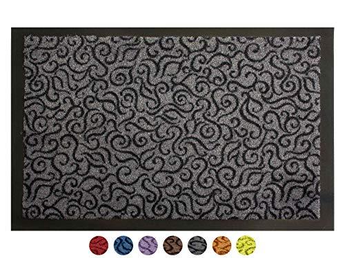 Schmutzfangmatte Türvorleger BRASIL Sauberlaufmatte - 60x90 cm, Grau, Fußmatte Rutschfest, Waschbar, für Innen und Außen Geeignet