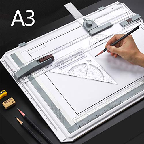 A3 Drawing Board Drafting Table Manual Drawing Board Drawing Tool Set Multifuctional Ergonomic Designed Adjustable Angle Rulers Architectural Sketch Board with Parallel Motion
