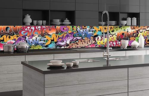 DIMEX LINE Küchenrückwand Folie selbstklebend Graffiti | Klebefolie - Dekofolie - Spritzschutz für Küche | Premium QUALITÄT - Made in EU | 350 cm x 60 cm