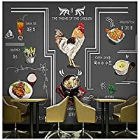 壁紙3D韓国フライドチキンホットポット料理壁紙ハンドドリンクグレーウォールグルメグラフィティグリルレストランホテル壁画* 200cmx140cm不織布プレミアムアートプリントフリース壁壁画装飾位置