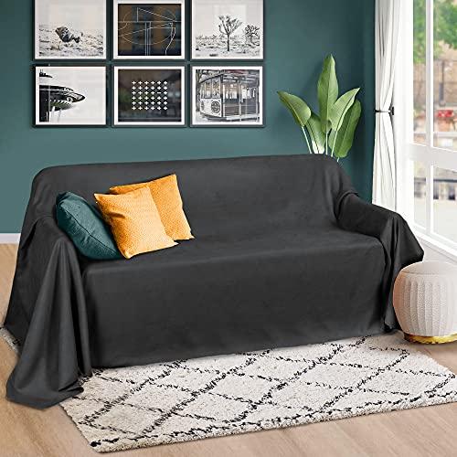 Beautissu Romantica Tagesdecke 210x280 cm - Wildleder-Optik Überdecke als Bettüberwurf & Sofaüberwurf Decke - Große Tagesdecken für Bett & Couch - Überwurfdecke in Anthrazit