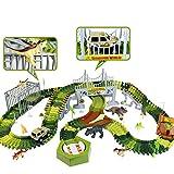Dinosaurio Pista Coches de Circuito Juguetes - Flexible Circuito Coches Pista de Carreras 192 Piezas con 8 Dinosaurios Juguetes 1 Coche Juguete Regalo para Niños Niñas 3 4 5 6 Años