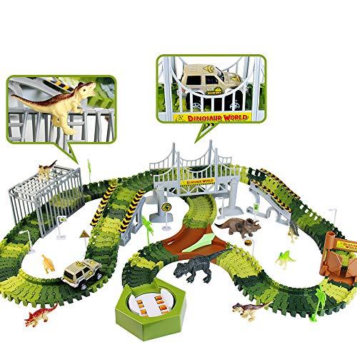 Fajiabao Pista Macchinine Dinosauro Giocattolo per Bambini - 213 Pezzi Flessibile Piste Macchine Elettriche Giochi Bambini con 8 Dinosauri Giocattoli Bambino 3 4 5 6 Anni 1 Cars Camion Regalo