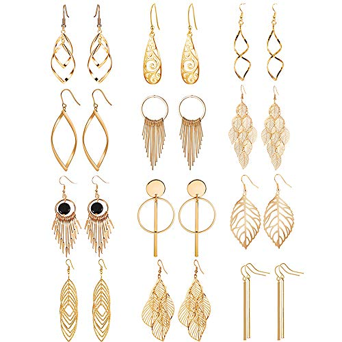 12 Pairs Drop Dangle Earrings Water Drop Fashion Jewelry Vintage Statement Boho Bohemian Earrings Set for Women Girls