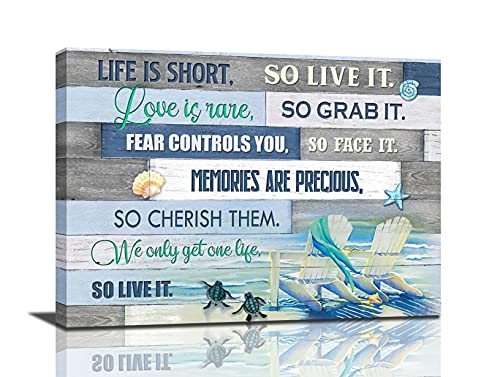 Sea Turtle Bathroom Decor Wall Art Beach Themed Ocean Teal Turtle Pictures Canvas Print Artwork Nautical Bathroom Decor Life Inspirational Quotes Painting For Living Room Bedroom Framed Home Decoration 12x16inch