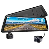 AUTO-VOX A1 Streaming Media Mirror Dash Cam, 1080P Dual Dash Cam Front and Rear, 270° Rotating Camera for Left-hand-drive Cars and In-car Recording, Parking Mode, G-Sensor, WDR