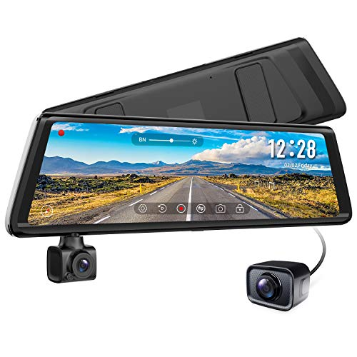 """AUTO-VOX A1 Dashcam Autokamera Rückfahrkamera,Dual DVR Dash Cam,9.88"""" 1080P Full HD Touchscreen Rückspiegel, 270°Drehbar vorne Kamera, IP68 Wasserdicht, Nachtsicht,WDR, Parkmodus, Bewegungserkennung"""