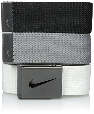 Nike Men's Standard 3 Pack Golf Web Belt, White/gray/black, One Size