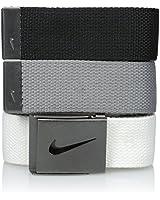 Nike Men's 3 Pack Golf Web Belt, White/gray/black, One Size