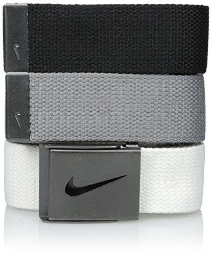Nike Men's Standard 3 Pack Golf Web Belt, White/gray/black, One Size