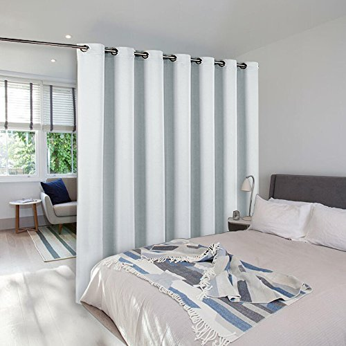 NICETOWN Room Divider Curtain, Sliding Door Curtain, Wide Width Thermal Drapes, Absorb Noise, Room Darkening, Vertical Blinds for Patio Door (Greyish White, Width 100 inches, Length 95 inches)