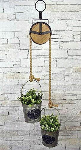 Livitat® Hängeaufbewahrung Hängeampel Blumenampel Hängepflanzen Flaschenzug Haken Metall Industrie LV5071