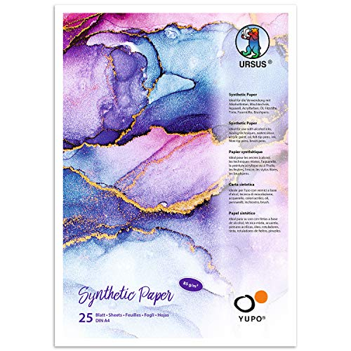 Yupo Paper, 85 g, DIN A4, 25 Blatt, synthetisch, glatte Oberfläche, reiß- und wasserfest, UV lichtecht, extrem strapazierfähig, 100{b45ea132af2f3a56c59226e590286cc2448ad5e696dc2aee097e78ab3daa0f96} recyclebar, vielseitig verwendbar