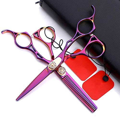 TYWZJ 6.0 Inch Professional Hairdressing Hair Scissors and Hairdressing Thinning Scissors, with Adjustable Screw Sharp Barber Hair Scissors for Barbers or Home Use, Light and Sharp