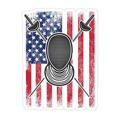 DKISEE 3 piezas de máscara de esgrima diseño de la bandera de Estados Unidos – pegatinas troqueladas de 4 pulgadas para laptop, ventana, coche, botella de agua