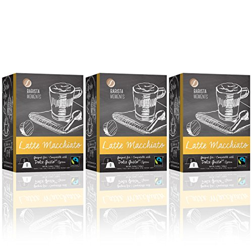 Barista Moments 3er Pack Latte Macchiato Kaffeekapseln - 48 Dolce Gusto®* kompatible Kapseln | Fairtrade (3 x 16 Kapseln)