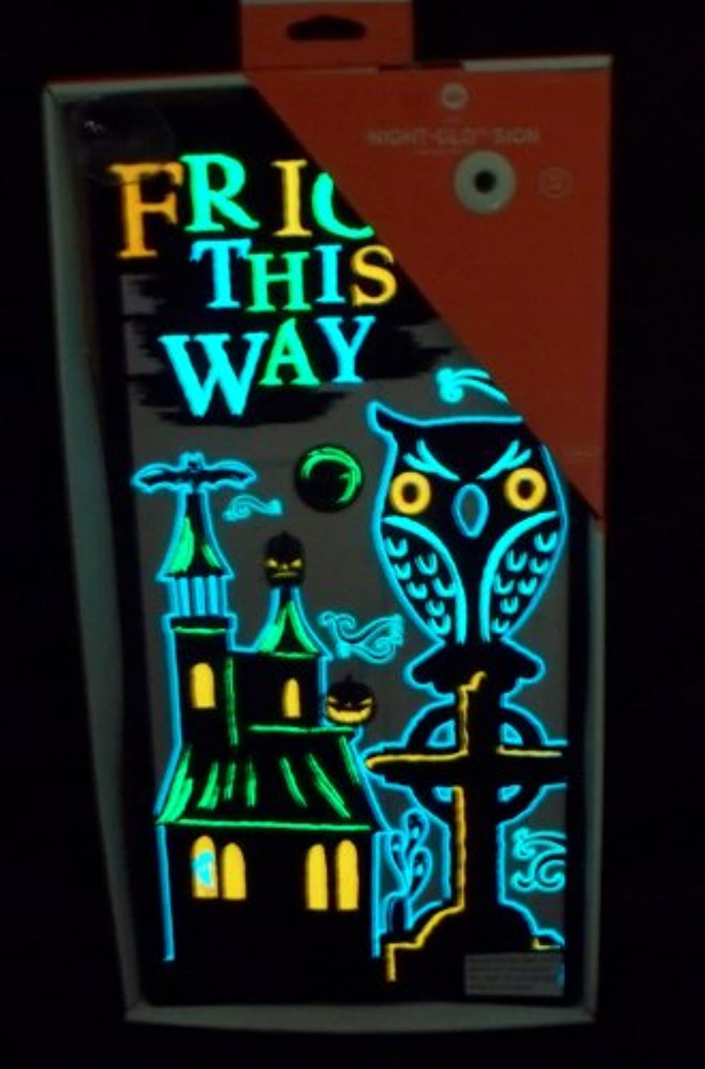 Gemmy Night Glo Sign - Owl - Fright This Way