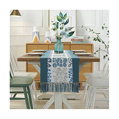 CUIZC Camino de mesa hecho a mano con borlas de algodón y lino, camino de mesa de estilo pastoral, para casa, cama, armario zapatero, armario, bandera de mesa, bandera