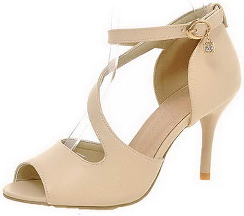 WeenFashion Women's Buckle PU Peep Toe High-Heels Solid Sandals