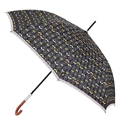 Paraguas Vogue confeccionado en Tres Estampados de diseño Exclusivo. Fabricado en Fibra de Vidrio. Antiviento, Teflón y Apertura automática. (Estampado Chic Floral Negro)