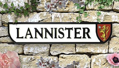 Hauslannister Wappen Game of Thrones GoT Retro Vintage Straßenschild Schwarz & Weiß Dragons Winter Is Coming Iron Thron Seven Kingdoms Stark Daenarys Targaryen Winterfell Nights Watch Road