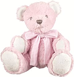 """Suki Baby Hug-a-Boo Pink Small bear rattle Supersoft plush bear wearing a striped cotton bow 5"""" (13cm) sitting height, head to toe 7"""" (17.8cm) Includes rattle within tummy hand wash, air dry"""