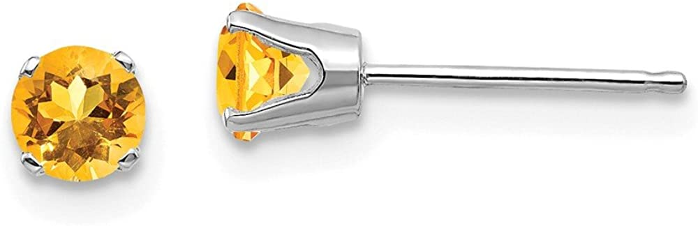 14k White Gold 4mm Yellow Citrine Stud Earrings Birthstone November Prong Gemstone Fine Jewelry For Women Gifts For Her