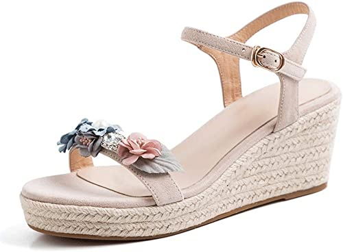 SANDALES compensées pour Femmes élégante élégante Plateforme à Fleurs à Talons Hauts décontractées Chaussures été à la Cheville Boucle Bout Ouvert Compensés Talons  jusqu'à 42% de réduction