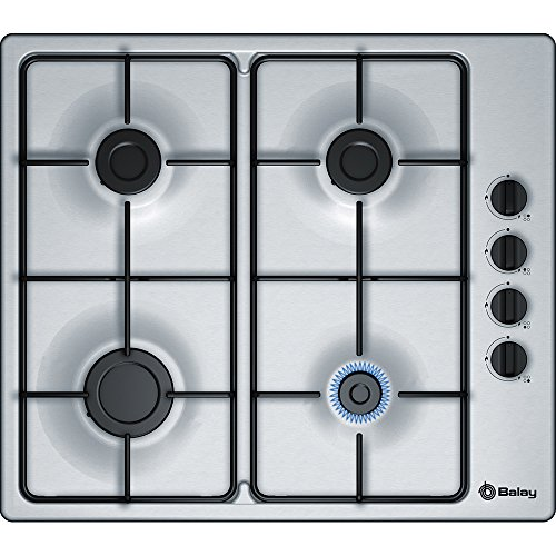 Balay 3ETX464MB Integrado Encimera de gas Plata hobs - Placa (Integrado, Encimera de gas, Plata, 1000 W, 1700 W, 1700 W)