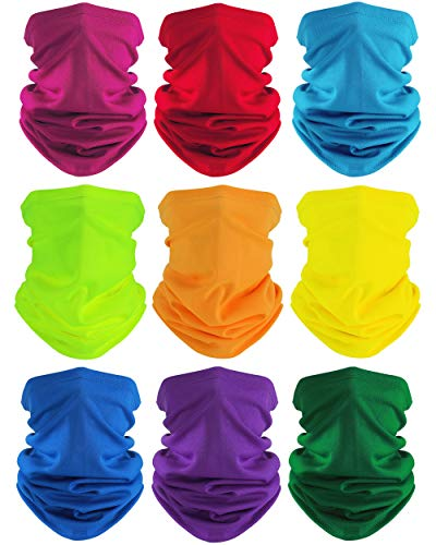 SATINIOR 9 Pieces Summer UV Protection Face Covers Neck Gaiter Breathable Summer Bandana