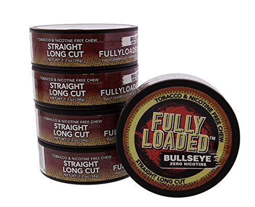 Fully Loaded Chew Tobacco and Nicotine Free Straight Bullseye Long Cut Authentic Flavor, Chewing Alternative- Cans