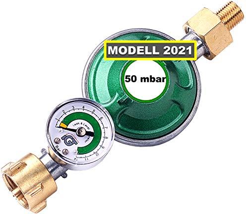 CAGO Gasregler 50 mbar mit Manometer Füllstandsanzeige Schlauchbruchsicherung Propangas Druckminderer Druckregler Camping Propan Butan