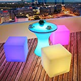 Magshion 12inch/16inch Cordless LED Square Cube Chair Color Changing Light Up Chairs Bar Stool Table with Remote (16-inch)