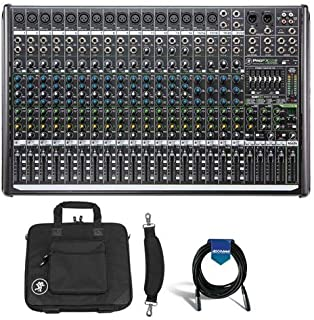 Mackie ProFX22v2 22-Channel 4-Bus FX Mixer with USB, 16 Vita Mic Preamps, 7-Band Graphic EQ - Bundle Mackie Bag for ProFX22 Mixer, 20' Heavy Duty 7mm Rubber XLR Microphone Cable