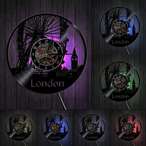 decoración del hogar London Ferris Wheel Decoración de Pared Reloj de Pared London Eye Reloj de Pared con Disco de Vinilo Inglaterra Big Ben Reloj Decorativo Moderno Regalo de Londres