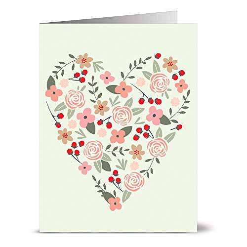 Note Card Cafe Valentine's Day and Anniversary Greeting Cards with Gray Envelopes | 36 Pack | Blank Inside, Glossy Finish | Heartful Design | Show Love to Significant Other, Friends