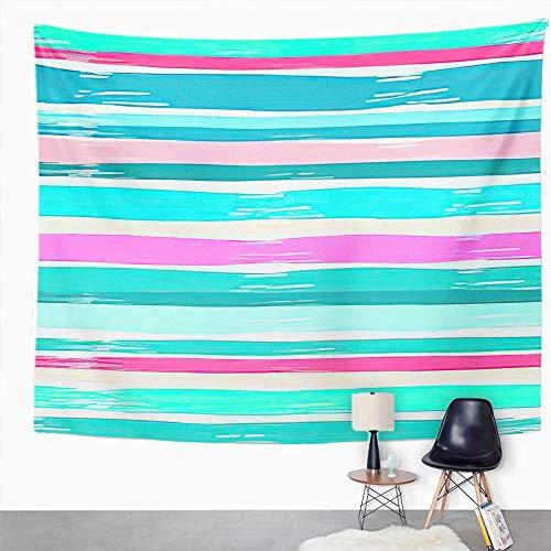 Y·JIANG Tapiz colorido, a rayas, diseño de rayas, color azul, étnico, rosa, vintage, decoración de dormitorio para el hogar, dormitorio, 203 x 152 cm