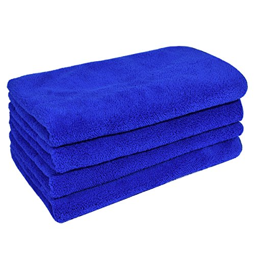 Zhe xin Ultra Plush Thick Microfiber Car Wash Drying Towels Cleaning for Kitchen, Home, Car, Furniture - 15.7' x 24' - 450 GSM ( 4pcs, Blue )