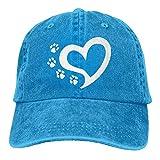 LENGDANU Gorra de béisbol para hombre y mujer, gorra de camionero de mezclilla Snapback de gato con estampado de huellas de perro en forma de corazón ajustable de seis paneles para papá y mamá