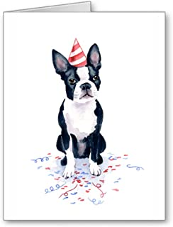 Boston Terrier Birthday Cards - Set of 10 Note Cards With Envelopes