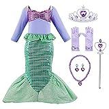 Hamanasu Fille Ariel Sirène Robe de Princesse Costume Déguisement Manche Longue Enfants...