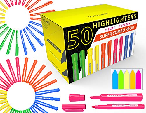 50 Chisel Tip Highlighters Markers Bulk Assorted Colors, Tank...