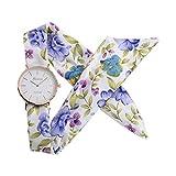 Yivise Vestido de Mujer Reloj de Pulsera Flor de Moda Diseño de Tela Reloj Pulsera Dulce Reloj(D)