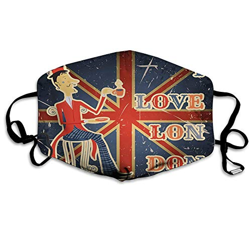 Comfortable Printed mask, I Love London Quote English Man Drinking Tea on UK Flag Backdrop National Design,Windproof Facial decorations for man and woman