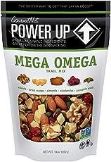 Power Up Trail Mix, Mega Omega Trail Mix, Non-GMO, Vegan, Gluten Free, No Artificial Ingredients, Gourmet Nut, 14 oz Bag, Green