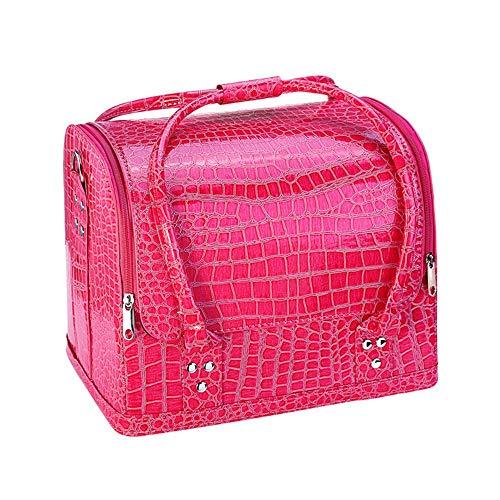 PN-Braes Cas cosmétique Professionnel Beauté Make Up Case Nail Cosmetic Box Sac Vanity Case Organisateur Motif De Crocodile Boîte De Rangement Cosmétique Stockage de Maquillage (Color : Rose Red)