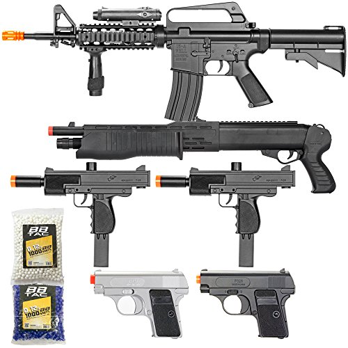 BBTac Airsoft Gun Package - Black Ops - Collection of Airsoft Guns - Powerful Spring Rifle, Shotgun, Two SMG, Mini Pistols and BB Pellets, Great for Starter Pack Game Play