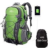 Meisohua all' Aperto Alpinismo Zaino Zaino per Uomini e Donne Campeggio Escursione Impermeabile Bag per Viaggiare Trekking con parapioggia, Donna USB - Green