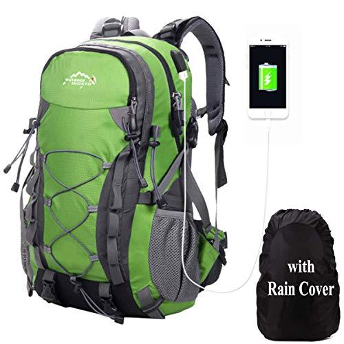 Meisohua Mochila de Senderismo, 40L Impermeable Mochila de Escalada para Camping Ciclismo Deportes al Aire Libre Morral para Viajes Acampadas USB - Verde