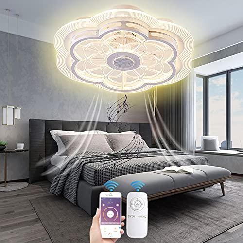VOMI Inteligente Música Ventilador de Techo con Luz y Mando a Distancia Silencioso Lámpara de Ventilador con Bluetooth Altavoz Moderno Invisible Ventilador Forma de Flor para Dormitorio Salón